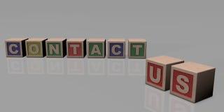 CONTATO E.U. escrito com blocos de madeira Imagens de Stock