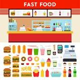 Contatore degli alimenti a rapida preparazione con il segno del menu Fotografia Stock Libera da Diritti