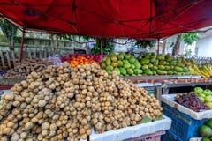 Contatore della via con le verdure tropicali e frutti in un mercato asiatico tipico, Sud-est asiatico, Laos fotografie stock libere da diritti