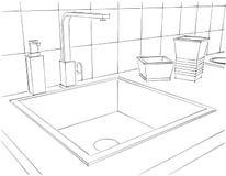 Contatore di cucina moderno con il rubinetto, il lavandino quadrato ed alto vicino dell'articolo da cucina Fotografia Stock Libera da Diritti