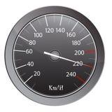 Contatore di velocità contro priorità bassa bianca Fotografia Stock
