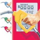 Contatori del tubo flessibile e della stazione di servizio di rifornimento di carburante di vettore Immagini Stock Libere da Diritti