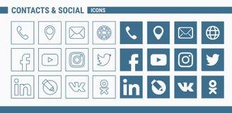 Contatos & ícones sociais - Web do grupo & móbil 01 ilustração royalty free