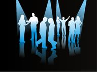 Contatos de povos diferentes, silhuetas Fotografia de Stock