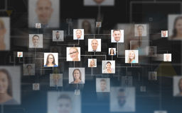 Contatti di affari sopra fondo blu scuro Fotografia Stock