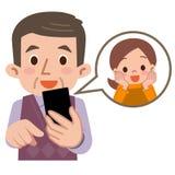 Contatti lo smartphone del nipote Fotografia Stock