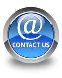 Contattici (icona di indirizzo email) bottone rotondo blu lucido Fotografia Stock
