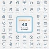 Contattici - insieme della linea sottile icone di web isolate su un fondo Insieme dell'icona illustrazione di stock