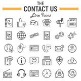 Contattici linea l'insieme dell'icona, segni del bottone di web Fotografia Stock Libera da Diritti