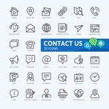 Contattici - linea sottile minima insieme dell'icona di web Fotografia Stock