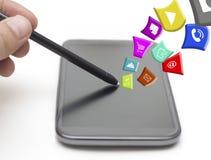 Contatto del touch screen con Apps Fotografia Stock Libera da Diritti