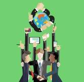 Contatto di affari universalmente e telefono e computer della compressa di tocco della mano Fotografia Stock Libera da Diritti
