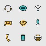 Contatto mobile, linea di comunicazione insieme di vettore Immagine Stock