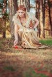 Conte de fées au sujet de princesse avec la boule mortelle des fils en bois Photographie stock libre de droits