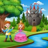 Conte de fées de beaux princesse et prince au bord de la rivière illustration stock