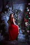 Conte de fées Belle princesse dans la robe rouge se reposant dans un jardin mystique images stock