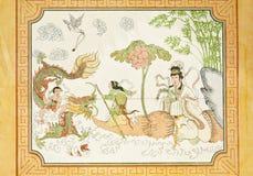 Conte de fées chinois sur le mur de temple Image stock