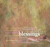 Conte seu fundo da parede da palavra das bênçãos Fotos de Stock Royalty Free