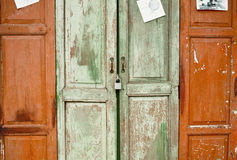 Conteasing colors ,closed the chinese door Stock Photos