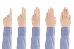 Conteggi della mano della donna da uno a cinque. Immagini Stock Libere da Diritti