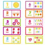 Conteggio da uno a dieci Caratteri e numeri svegli Carta d'apprendimento educativa per i bambini, bambini, bambini illustrazione di stock