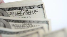 Conteggio dei soldi Vista vicina video d archivio