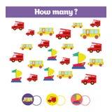 Conteggio del gioco educativo dei bambini, scheda di attività dei bambini Quanti oggetti incaricano Apprendimento della matematic royalty illustrazione gratis