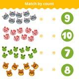 Conteggio del gioco per i bambini Animali di conteggio nell'immagine illustrazione di stock