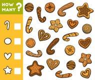 Conteggio del gioco per i bambini in età prescolare Conti quanti biscotti royalty illustrazione gratis