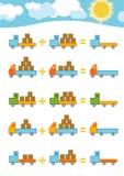 Conteggio del gioco per i bambini Fogli di lavoro dell'aggiunta illustrazione vettoriale