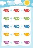 Conteggio del gioco per i bambini Fogli di lavoro dell'aggiunta con l'annaffiatoio illustrazione di stock