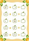 Conteggio del gioco per i bambini Fogli di lavoro dell'aggiunta con le mele illustrazione vettoriale