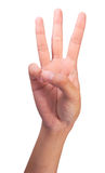 Conteggio della barretta numero 3 delle mani destre della donna Fotografia Stock Libera da Diritti