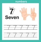 Conteggio della mano dito e numero, esercizio di numero illustrazione vettoriale