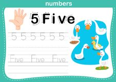 Conteggio della mano dito e numero, esercizio di numero illustrazione di stock