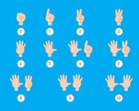 Conteggio della mano dito e numero illustrazione vettoriale