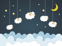 Conteggio delle pecore Pecore di salto felici del personaggio dei cartoni animati Immagine Stock