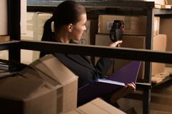 Conteggio di riserva della donna di affari nel magazzino Immagini Stock Libere da Diritti