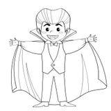 Conteggio Dracula Vampiro Ragazzo in costume di Halloween Vettore in bianco e nero Fotografia Stock Libera da Diritti