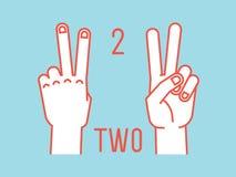Conteggio sulle dita Numero due Gesto Mani stilizzate con l'indice ed il dito medio su Vettore Fotografie Stock Libere da Diritti