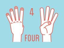 Conteggio sulle dita Numero quattro Gesto Mani stilizzate con l'indice, il mezzo, l'anello ed i mignoli su Vettore Immagine Stock