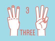 Conteggio sulle dita Numero tre Gesto Mani stilizzate con l'indice, il mezzo e gli anulari su Vettore Fotografie Stock