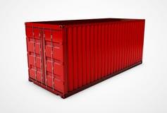 conteiner 3d vermelho em um fundo branco Imagem de Stock Royalty Free