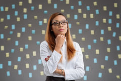 Contemplating business ideas. Portrait of young Vietnamese woman contemplating business ideas Stock Photos