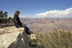 Contemplating the Grand Canyon Royalty Free Stock Image