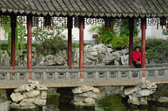 Contemplating Lady, Yuan Gardens, Shanghai. Contemplating Lady in Shanghai's Yuan Gardens, Shanghai, China Stock Images