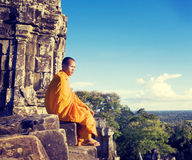 Contemplating Monk Angkor Wat Siam Reap Cambodia Concept Stock Photography