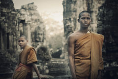 Contemplating Monk Cambodia Angkor Wat Siam Reap Concept Royalty Free Stock Photography