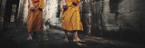 Contemplating Monk in Cambodia Culture Concept Stock Image
