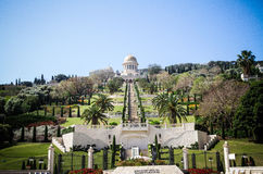 Contemplation. The Bahá`í gardens, view from main gate towards the Temple Royalty Free Stock Photography